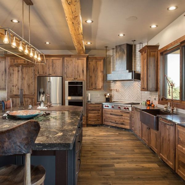 Woodland Cabinets in Rustic Walnut, Andersen 400 Series Windows, Kitchen Countertop accent – Wood Grothouse Wood Butcher Block