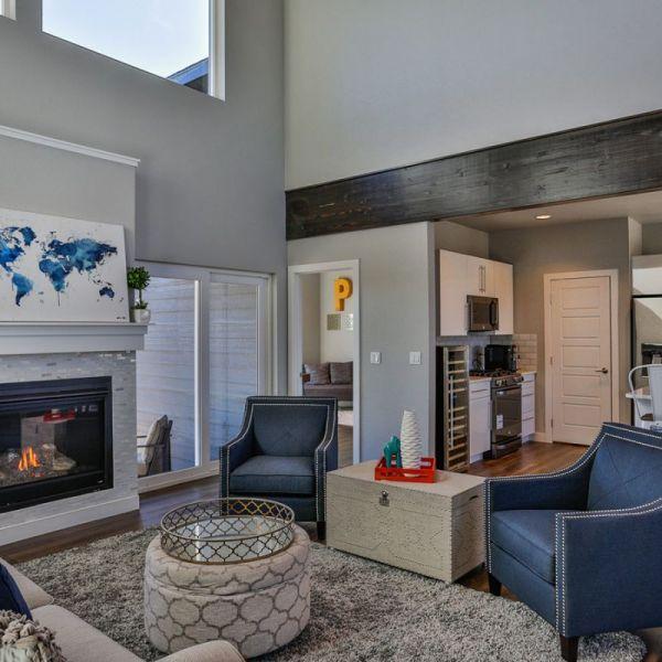 Heatilator Fireplace & Bayer Built 5-panel custom white interior doors & Vector windows