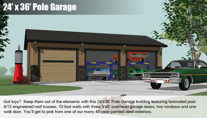 Pole buildings mead lumber and knecht home center for 24x36 garage cost